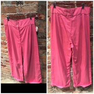 80's bubblegum pink high waist wide leg trousers